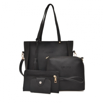 Women Bag   Tassel Handbag Purse Ladies PU Leather Crossbody Bag 4Pcs/Set black One size