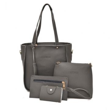 Women Bag   Tassel Handbag Purse Ladies PU Leather Crossbody Bag 4Pcs/Set Dark grey One size