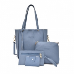Women Bag   Tassel Handbag Purse Ladies PU Leather Crossbody Bag 4Pcs/Set sky blue One size