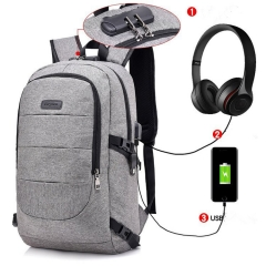 Fashion 17-Inch Bag Business Large-capacity Laptop Backpack, USB Charging Port & Headphone interface grey one size