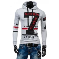 Fashion Sweater Long Sleeve Hooded Casual Sweatshirt white m