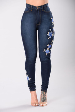High Waist Jeans  Ladies Jeans  Stretch-slim Jeans Delicate Embroidery Blue S