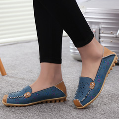 1 Pairs Soft Leather  Loafers Shoes   Moccasins Flats Shoes Blue 36