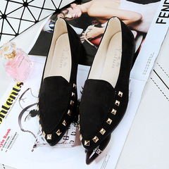 1 Pairs Fashion  Rivet Female Shoes Flat Shoes Single Shoes    Shoes Flat black 37