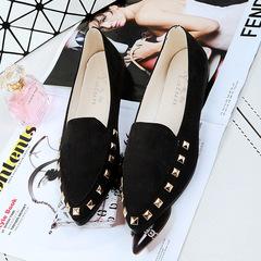 1 Pairs Fashion  Rivet Female Shoes Flat Shoes Single Shoes    Shoes Flat black 37