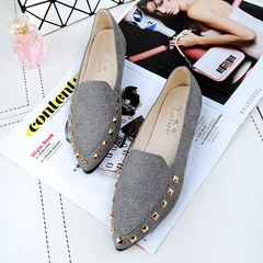 1 Pairs Fashion  Rivet Female Shoes Flat Shoes Single Shoes    Shoes Flat gray 39