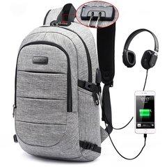 Backpack USB Charging Men's Large Travel Bag Youth Backpack handbag Tablet PC bag B款-Light gray One size