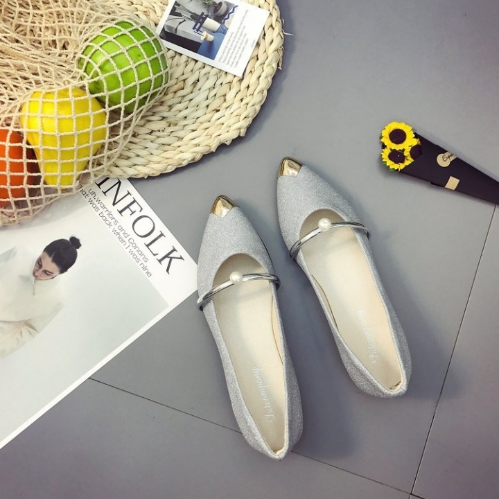 7620384798ab 1 Pairs Fashion New Female Pointed Shoes Flat Shoes Pearls Single Shoes  Shoes Shoes Flat Silver
