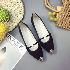 1 Pairs Fashion New Female Pointed Shoes Flat Shoes Pearls Single Shoes  Shoes  Shoes Flat Black 35