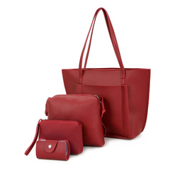 Fashion Handbags new female bag   single shoulder bag handbag  4PCS/ sets A Red one size