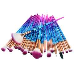 20Pcs  Makeup Tool/ Brush Powder Brush/Eye Shadow Brush/Eyebrow Brush/Lip Brush Makeup blue + purple