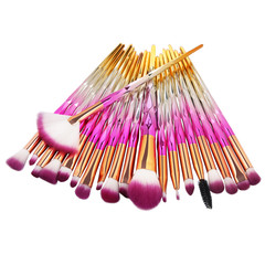 20Pcs  Makeup Tool/ Brush Powder Brush/Eye Shadow Brush/Eyebrow Brush/Lip Brush Makeup pink + gold