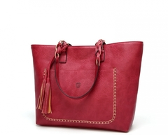 Fashion Leather Handbag    Tassel Accessories Bag red one size