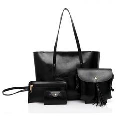 4Pcs/Set  Handbag  Lady Shoulder Crossbody   PU Leather Bag black one size