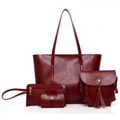 4Pcs/Set  Handbag  Lady Shoulder Crossbody   PU Leather Bag red one size