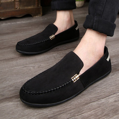 Fashion  Men Casual Loafers Comfortable Rubber Flat Sole Men B-black 39