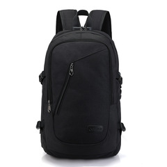 Backpack USB Charging Men's Travel Bag Backpack handbag Tablet PC bag School Bag dark black one size