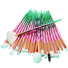 20Pcs  Makeup Tool/ Brush Powder Brush/Eye Shadow Brush/Eyebrow Brush/Lip Brush Makeup pink + green