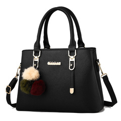 Fashion  Handbag  Shoulder Messenger Bag   PU Leather Handbag dark black one size