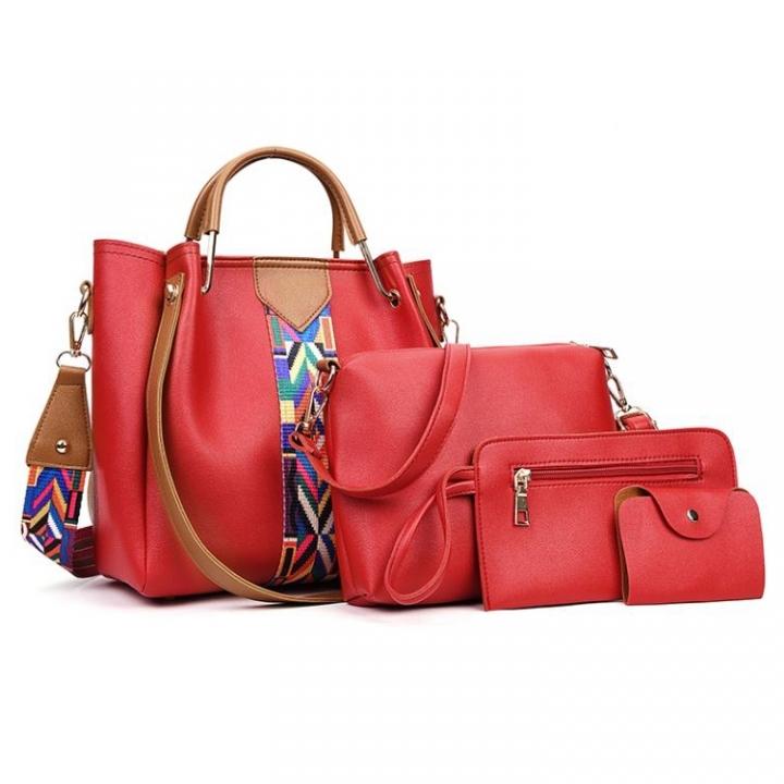4 Pcs/Set Fashion Handbags Women's Shoulder Bag   High Quality PU Leather  Handbag red as picture