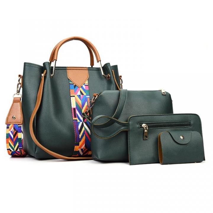 4 Pcs/Set Fashion Handbags Women's Shoulder Bag   High Quality PU Leather  Handbag green as picture