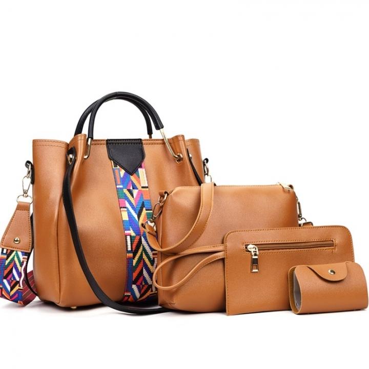 4 Pcs/Set Fashion Handbags Women's Shoulder Bag   High Quality PU Leather  Handbag brown as picture