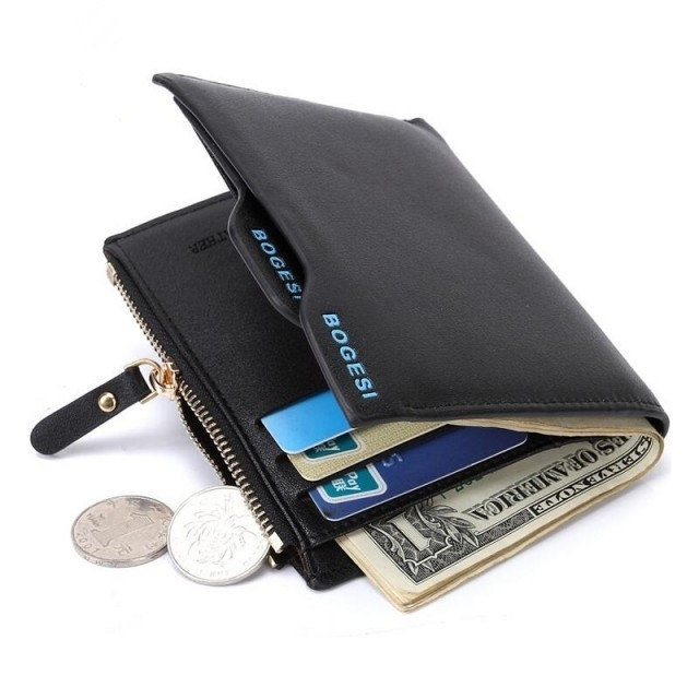 Men's Short Paragraph Wallet/ Leather PU Wallet Black One size