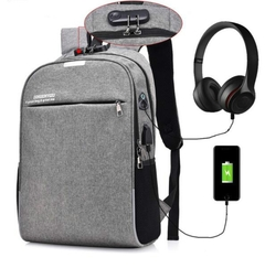 Luminous Anti Theft Password Locks Bag Men Bag USB Charging Business Travel  tablet Backpack grey one size