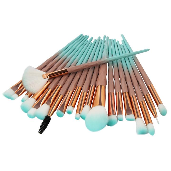 20Pcs  Makeup Tool/ Brush Powder Brush/Eye Shadow Brush/Eyebrow Brush/Lip Brush Makeup brown + green