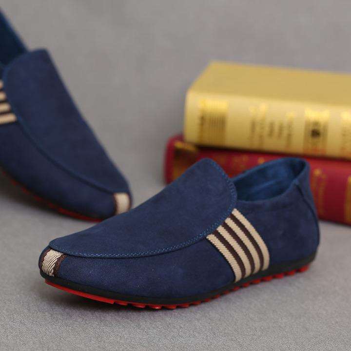 Fashion  High Quality Men Casual Shoes / Loafers /Rubber Flat Sole /Men Shoe Blue 44