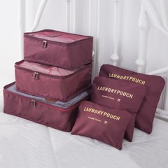 6 Pcs Outdoor Travel  Clothing Baggage Sort Out Package / Travel Bags/ Storage Consolidation Bag dark red one size