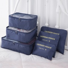 6 Pcs Outdoor Travel  Clothing Baggage Sort Out Package / Travel Bags/ Storage Consolidation Bag blue one size