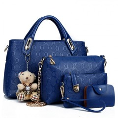 Handbags Fashion Classic Handbags / PU Leather Bags 4 Pcs/ set blue one size