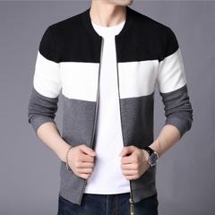 Fashion Men's Sweater Cardigan /Sweater/ Slim Casual Sweater /Jacket coat black M