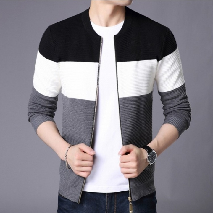 Fashion Men's Sweater Cardigan /Sweater/ Slim Casual Sweater /Jacket coat black XL