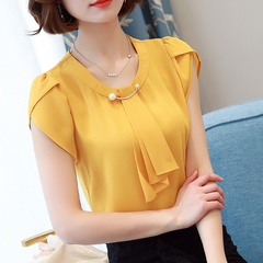 Summer Chiffon Blouse/ Shirt /Short Sleeve Shirt /Women's Tops Yellow l