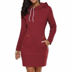 Sweatshirt/ Long Sleeve Zip Hooded Sweatshirts /Women Pullovers red wine s