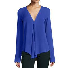 Sexy Deep V Neck Lady Shirts/ Women's Tops / Tops / Blouse/ Chiffon shirt  /Long sleevele Shirt blue s