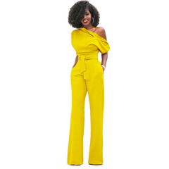 Fashion Sexy Long Sleeve  Out Shoulder Ladies Jumpsuits yellow S