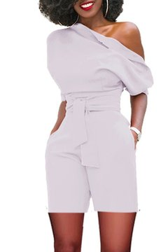 Fashion Sexy   Out Shoulder Ladies Jumpsuits white s
