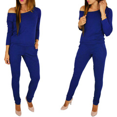 European and American Fashion Sexy   Ladies Jumpsuits blue s