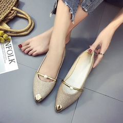1 Pairs Fashion New Female Pointed Shoes/ Flat Shoes/ Pearls Single Shoes Shoes/ Shoes Gold 39