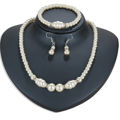 4 Piece Pearl  Jewelry/ Necklace Pendant/ Necklace+ Earring + Bracelet  /Women  Jewellery White As Picture