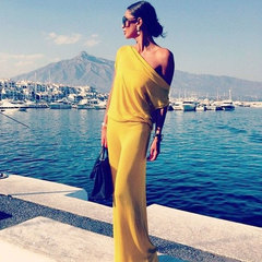 New Fashion Women Dress  / Long Skirt /Sexy Party Dress s yellow