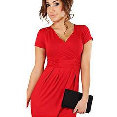 New Fashion Women Polyester  High waist Short sleeve V-Neck Sexy Dress / Dress s red