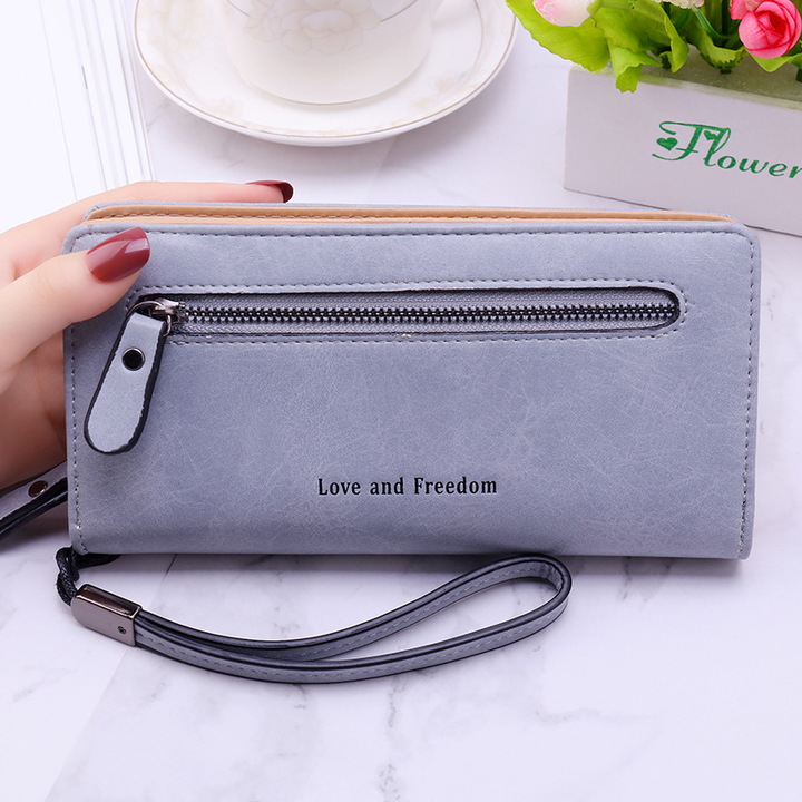 New Multicolor Leather Wallet Female/ Long Paragraph Leather Wallets / Women's Wallet blue one size