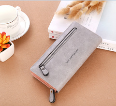 New Multicolor Leather Wallet Female/ Long Paragraph Leather Wallets / Women's Wallet gray one size