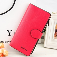 New Fashion Multicolor Leather Wallet Female/ Long Paragraph Leather Wallets / Women's Wallet red one size