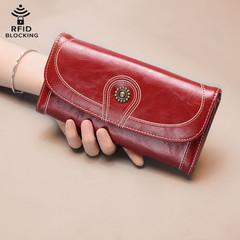 Women's Vintage Leather Wallet RFID Blocking Wallets /Long Paragraph  Wallets / Women's Wallet red one size