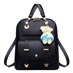 Fashion Backpack / High Quality Leather Travel Bag / Shoulder Bag black one size
